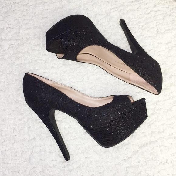 black sparkly platform heels